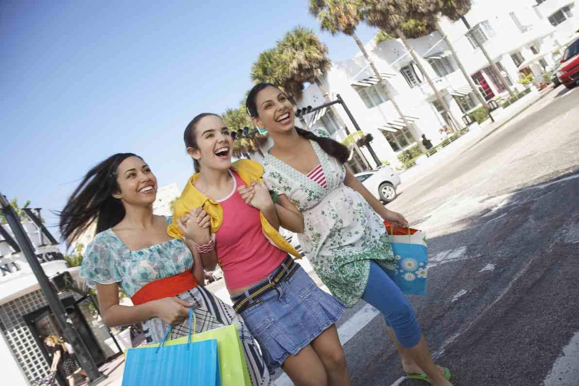 Girls walking around Miami Beach