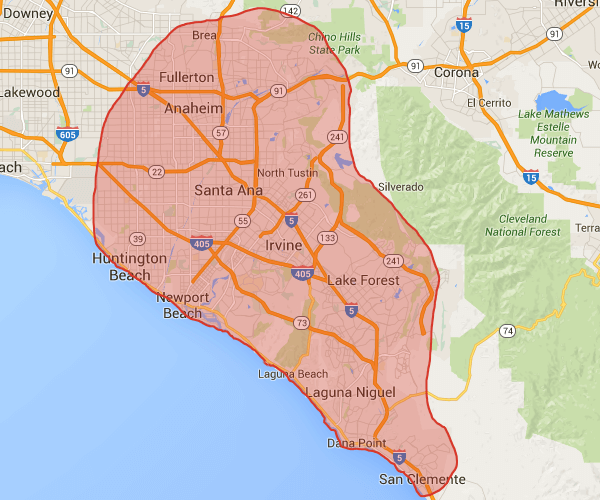 Our cleaning service areas in Orange County